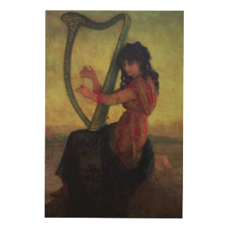 Muse Playing the Harp Wood Canvases
