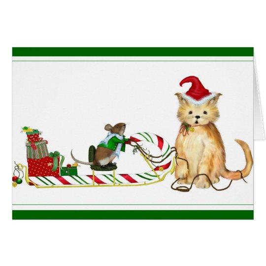 Mush! Whimsical Christmas Card
