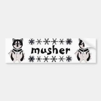 """Musher"" Malamute Sled Dogs Bumper Sticker"