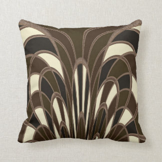 Mushroom Abstract - Art Deco - Brown Cushion