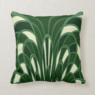 Mushroom Abstract - Art Deco - Green Throw Pillow