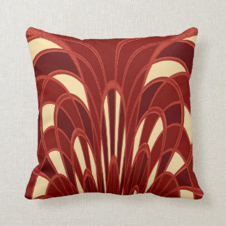Mushroom Abstract - Art Deco - Red Cushion