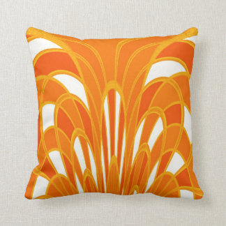 Mushroom Abstract - Art Deco - Tangerine Throw Pillow