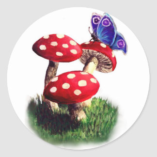 Mushroom and butterfly sticker