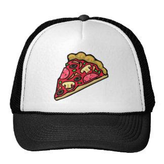 Mushroom and pepperoni pizza slice trucker hat