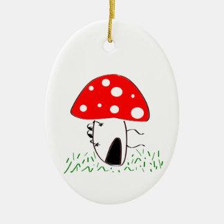 mushroom ceramic oval decoration
