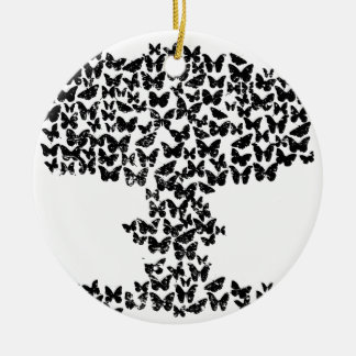 Mushroom Cloud of Butterflies Christmas Ornament