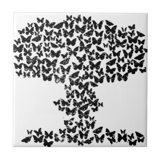 Mushroom Cloud of Butterflies Small Square Tile