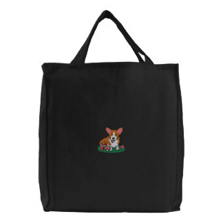 Mushroom Corgi Embroidered Bag