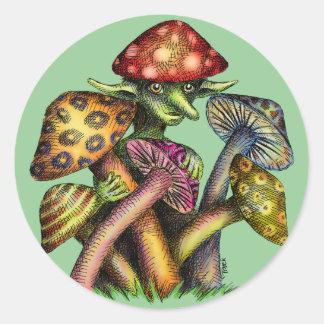 Mushroom Elf Classic Round Sticker