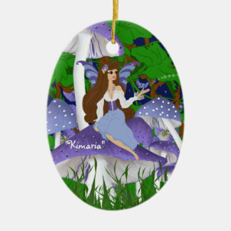 Mushroom Faery and Butterfly Ornament
