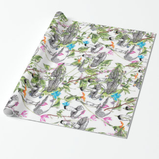 mushroom floral wrapping paper