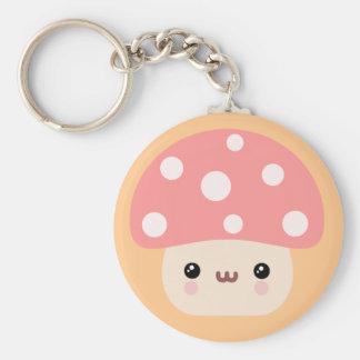 Mushroom Friends Basic Round Button Key Ring