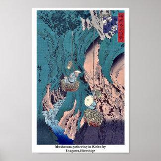 Mushroom gathering in Kishu by Utagawa,Hiroshige Poster