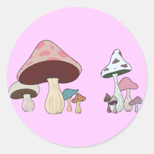 Mushroom Grouping Round Stickers