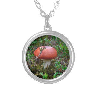 mushroom growing in forest mist round pendant necklace