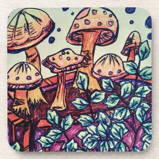 Mushroom hard plastic coasters