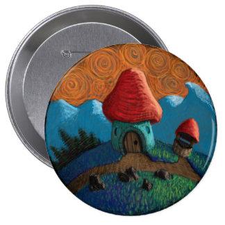 Mushroom house 10 cm round badge