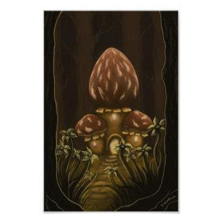 mushroom house fantasy photo print