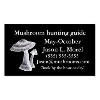 Mushroom hunting guide service business card