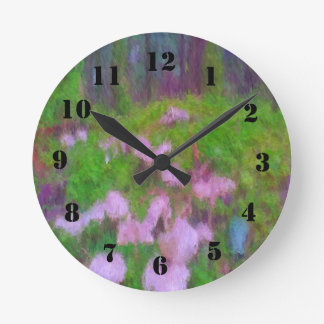 Mushroom in the forest round clock