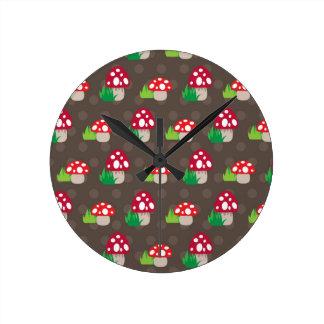 mushroom kids pattern round clock