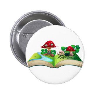 Mushroom popup book 6 cm round badge