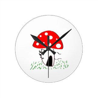 mushroom round clock