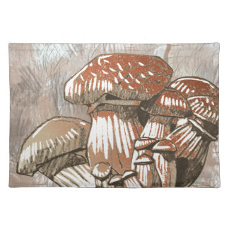 Mushroom Sketch in Browns Placemat