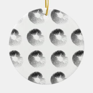 Mushroom Spore Print Design Black and White Round Ceramic Decoration