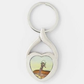 Mushroom Sprite Silver-Colored Heart-Shaped Metal Keychain