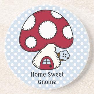 Mushroom Toadstool Fairy House Home Sweet Gnome Drink Coasters