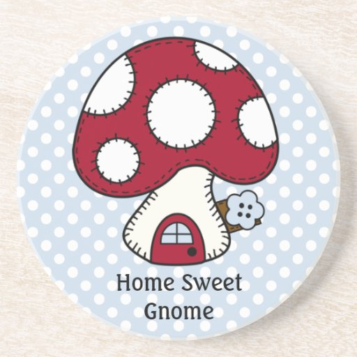 Mushroom Toadstool Fairy House Home Sweet Gnome Drink Coasters