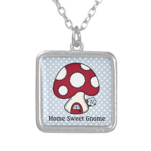 Mushroom Toadstool Fairy House Home Sweet Gnome Personalized Necklace