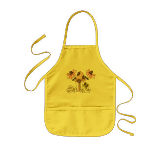 Mushrooms and Flowers Kids Apron