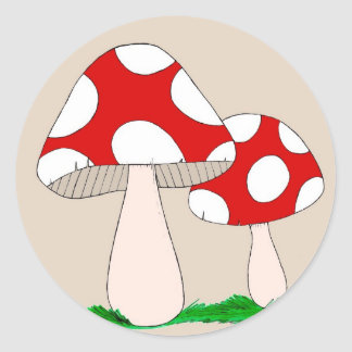 Mushrooms Classic Round Sticker