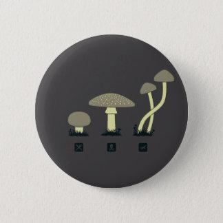 Mushrooms (food, poison, high) 6 cm round badge
