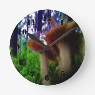Mushrooms in the forest round clock