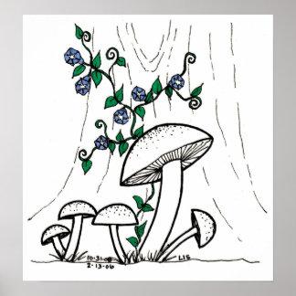 Mushrooms Morning Glories print