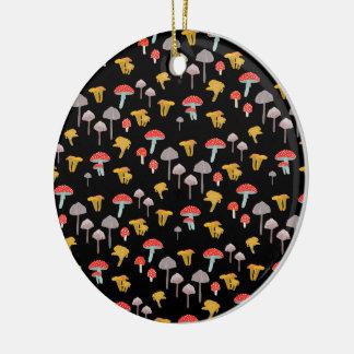 Mushrooms Round Ceramic Decoration