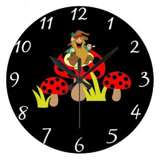 Mushrooms Round Clock