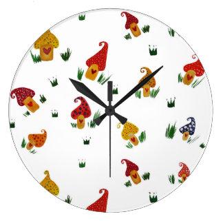 Mushrooms Round (Large) Wall Clock