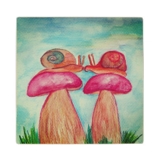 Mushrooms Snails illustration Wooden coaster Maple Wood Coaster