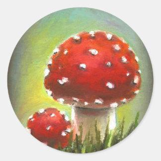 Mushrooms Round Stickers
