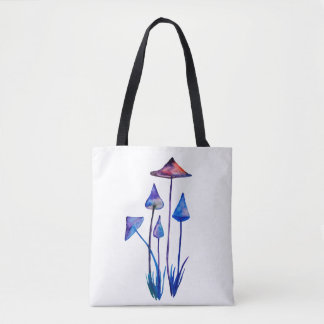 Mushrooms Watercolor Art Round Badge Tote Bag