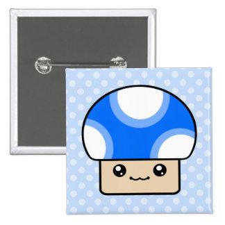 Mushy Puffs Blue Kawaii Mushroom 15 Cm Square Badge