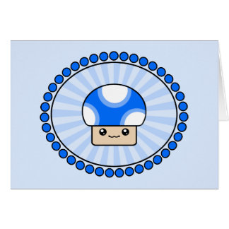 Mushy Puffs Blue Kawaii Mushroom Birthday Card
