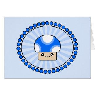 Mushy Puffs Blue Kawaii Mushroom Birthday Card