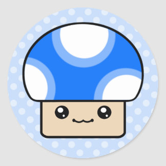 Mushy Puffs Blue Kawaii Mushroom Stickers