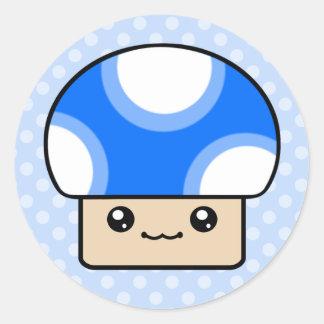 Mushy Puffs Blue Kawaii Mushroom Stickers